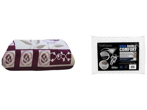 Cobertor Casal Microfibra Dyuri Suavidades - com Travesseiro Nasa Viscoelástico Double Comfort