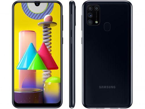 "Smartphone Samsung Galaxy M31 128GB Preto 4G - 6GB RAM Tela 6,4"" Câm. Quádrupla + Selfie 32MP"