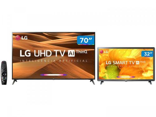 """Smart TV 4K LED 70"""" LG 70UM7370PSA Wi-Fi - Inteligência Artificial + Smart TV HD LED 32"""""""