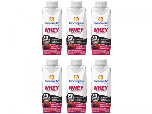 Kit Bebida Láctea Piracanjuba Whey - Frutas Vermelhas Zero Lactose 250ml 6 Unidades