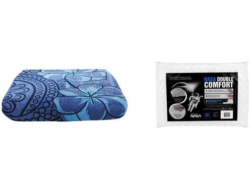 Cobertor Casal Poliéster Dyuri Núria - com Travesseiro Nasa Viscoelástico Double Comfort