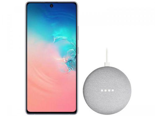"Smartphone Samsung Galaxy S10 Lite 128GB Branco - Octa-Core 6GB RAM 6,7"" + Google Nest Mini Cinza"