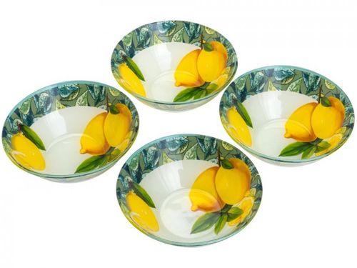 Conjunto de Bowls de Vidro Amarelo Bon Gourmet - 380ml Lemons 4 Peças