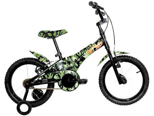 """Bicicleta Infantil Aro 16"""" Groove Camuflada Verde - com Rodinhas Freio V-Break"""