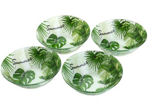 Conjunto de Bowls de Vidro Verde Bon Gourmet - 380ml Leaves 4 Peças