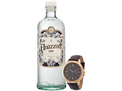 Relógio Masculino Mondaine Analógico 53927GPMGDH1 - Marrom + Gin Amázzoni Tradicional 750ml
