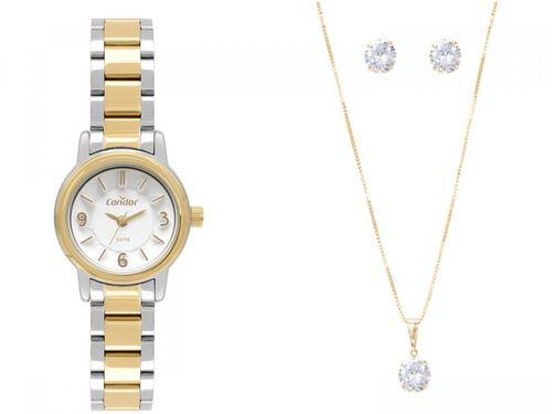 Relógio Feminino Condor Analógico - CO2036KVW/K5B Prata e Dourado com Acessórios