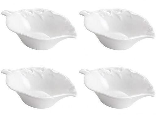 Conjunto de Bowls Porcelana Branco Bon Gourmet - 130ml Leaf 4 Peças