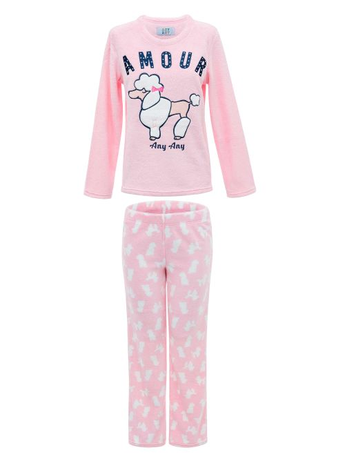 Pijama Soft Feminino Manga Longa Poodle Amour