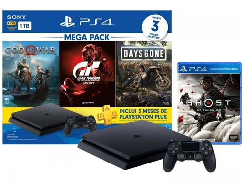 PlayStation 4 Bundle V12 1TB 1 Controle Sony - com 3 Jogos PS Plus 3 meses + Ghost of Tsushima