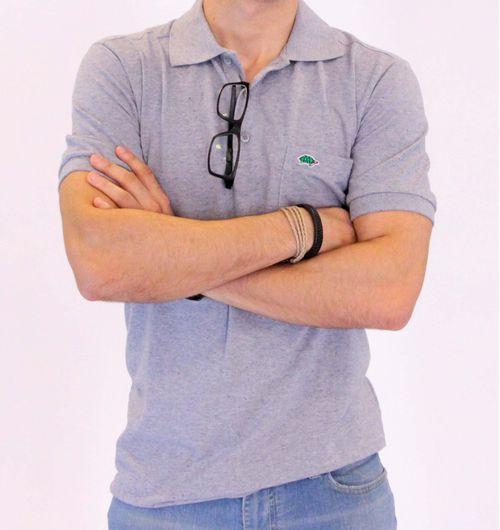 Camisa Pau a Pique Polo Azul Mescla