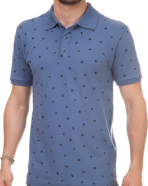 Camisa Pau a Pique Polo estampada Azul