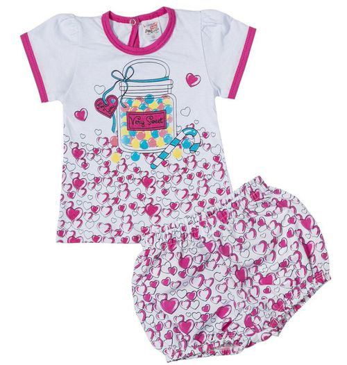 Conjunto Pau a Pique Infantil Corações Pink