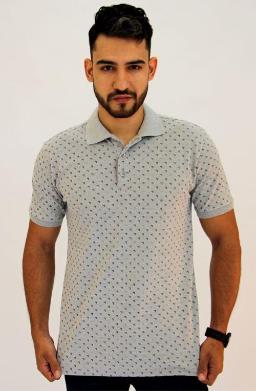 Camisa Pau a Pique Polo estampada Cinza