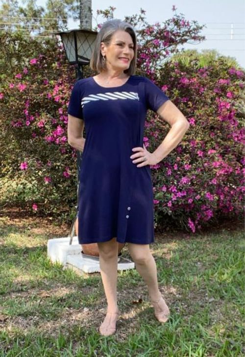 Vestido Pau a Pique Básico Azul Marinho